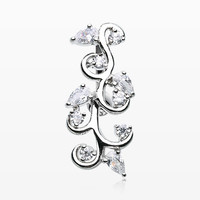 zzz-Delicate Crystal Vine Reverse Belly Button Ring