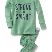 "Old Navy Graphic Print ""Strong And Smart"" Sleep Sets For Baby"