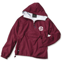 Cardinal Red Monogrammed Personalized Half Zip Rain Jacket Pullover - 11 colors