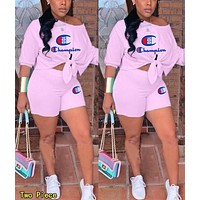 Champion Summer Woman Casual Print Short Sleeve Top Shorts Set Two Piece Pink