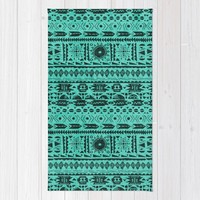 Turquoise Tribal Pattern Rug by Noonday Design | Society6