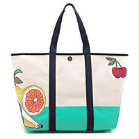Tory Burch Women's Penn Applique Zip Tote, Natural, One Size