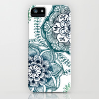 Teal Floral Doodle iPhone & iPod Case by micklyn