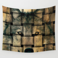 Woven Wolf Wall Tapestry by Nirvana.K
