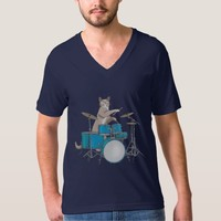 Cat Playing Drums - Blue T-shirt