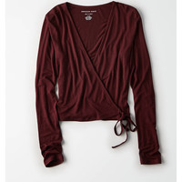 AE Soft & Sexy Tie Front Crop Top, Burgundy
