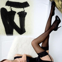 Womens Sexy Fashion Lace Top Thigh-Highs Stockings Socks + Garter Belt Suspender = 1931805636