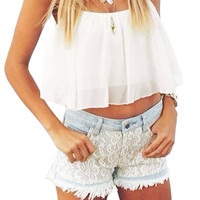 White Drawstring Chiffon Crop Top