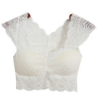White Cap Sleeve Soft Padded Lace Crop Top