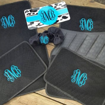 Monogram mat. Complete set. Embroidered car mats.