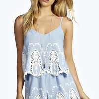 Madge Cameo Lace Chambray Playsuit