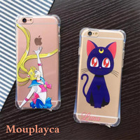 """New TPU shell for iphone 5 5s & SE & 6 6s 4.7"""" & 6 6s plus 5.5"""" phone cases Cute cartoon Sailor Moon pattern soft TPU back cover"""