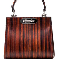 Wood Effect Leather Mini Doriana Top Handle Bag