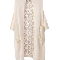 Half Sleeves Loose Fit Lace Cardigan With Rivets Pocket