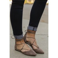 First Position Dark Taupe Lace Up Flats