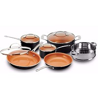 Gotham Steel Pots and Pans 10 Piece Cookware Set with Nonstick Ceramic Coating by Chef Daniel Green – Graphite, Fry, Stock Steamer Insert