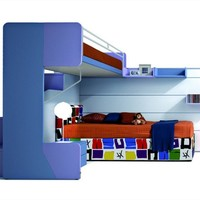 Convertible bunk bed CASTELLO VIRGOLA Virgola Collection by Zalf