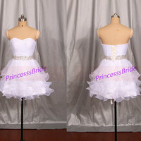 Mini white tulle homecoming dress in 2014,cute sweetheart prom gowns with beaded waist,cheap simple women dresses for party.