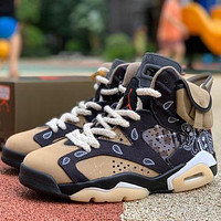 Nike Air Jordan 46Retro AJ4 casual sports basketball shoes heel cushion basketball shoes sneakers Black&Khaki