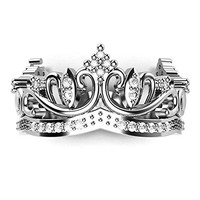 Sz 6 Sterling Silver Cubic Zirconia Princess Crown CZ Band Ring