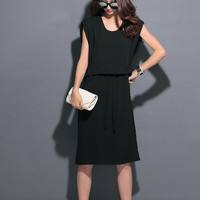 Black Sleeveless Drawstring Waist Dress