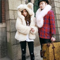 2015 Korean version of the cute plush imitation fox rabbit ears hooded jacket Leather grass hair coat thicker Women-in Fur & Faux Fur from Women's Clothing & Accessories on Aliexpress.com | Alibaba Group