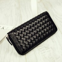 Casual Classic Weave Black Wallet
