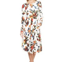 Pleated Floral Pocket Dress