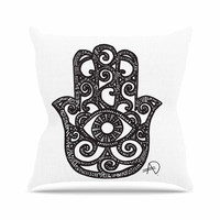 "Adriana De Leon ""Hamsa Hand"" Black White Outdoor Throw Pillow"