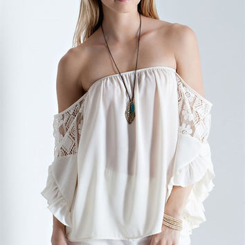 Solid Wool off the Shoulder Top