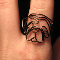 Wire Wrapped Pug or Any Dog Head MADE to ORDER Ring