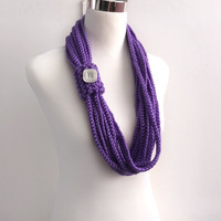 Purple color hand crochet chain Infinity scarf - gift or for you