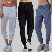 Fabmoor Women Sheer Running pants Mesh Double Layer Sweatpants Drawstring Slant pockets Shorts lining Jogger Track Pant Active