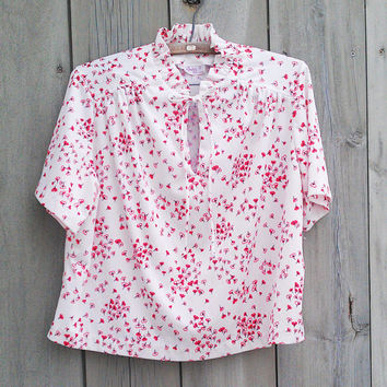 Vintage plus-size top - White cherry blossom print blouse with ruffle neck