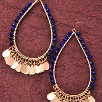 Gold Bangle Earrings in Navy, Clear or Black