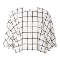 Plaid Linen Cropped Cape Top by Kaelen - Moda Operandi
