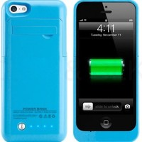 Kujian Slim Rechargeable Case with 4 LED Lights, Built-in Pop-out Kickstand Holder, 2200 mAh External Battery Backup for iPhone 5, 5s, 5c- Blue