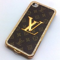 Amazon.com: Designer Iphone 4/4s Brown Monogram Bling Hard Leather Back Case With Gold Logo: Cell Phones & Accessories