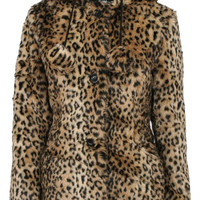 Shauna Hooded Leopard Print Fur Coat With Pom Poms in Brown