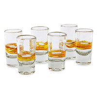 NOVICA Blown Shot Glasses, 'Ribbon of Sunshine' (Set of 6)