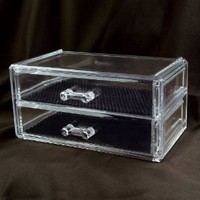 """Ikee Design 2 Drawer Acrylic Jewelry and Cosmetic Storage Display Box 7 1/4""""w X 4""""d X 3 1/2""""h . Inner compartment size : 6 3/8""""W x 3 1/2""""Dx 1 1/4""""H"""