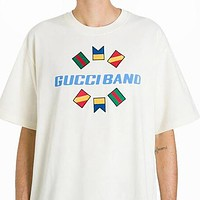 Gucci Summer Men Women Casual Print Round Collar Short Sleeve T-Shirt Top