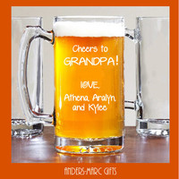 Cheers to Grandpa! 25 oz Beer Mug Daddy or Grandpa Gift! Personalized Fathers' Day Mug engraved with kids' names. Gift for him under 20!