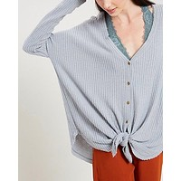 EVA Long Sleeve Thermal Waffle Knit V-Neck Button Down Lightweight Sweater in Grey