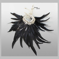NATURAL Feather Armband Black Iridescent Feather Accessory Neck/Arm Piece Handwoven Base Decorated With Seashell+Bead Boho Bohemia Gypsie