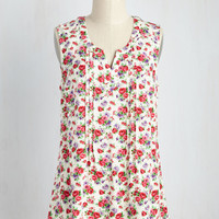 Learning Latin Top in Ivory Floral | Mod Retro Vintage Short Sleeve Shirts | ModCloth.com
