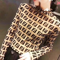 Fendi New fashion more letter print women leisure long sleeve top 2#