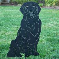 Black Labrador Retriever metal Garden dog yard art steel Lab sculpture /  pet memorial
