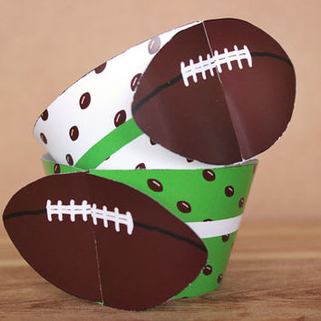 Printable 3D American Football Sports Party Cupcake Wrapper Set with a green & white football pattern INSTANT DOWNLOAD