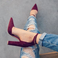 Pumps Sexy Retro High Thick Heels Shoes 2107 New Woman Shoes Female Lace